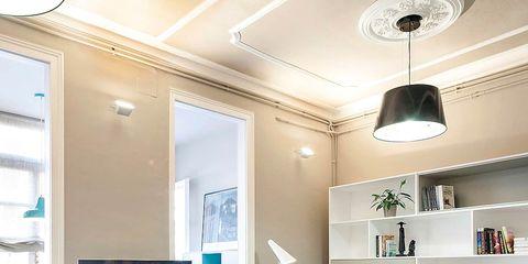 Room, Interior design, Floor, Green, Wall, Flooring, Living room, Ceiling fixture, Home, Ceiling,