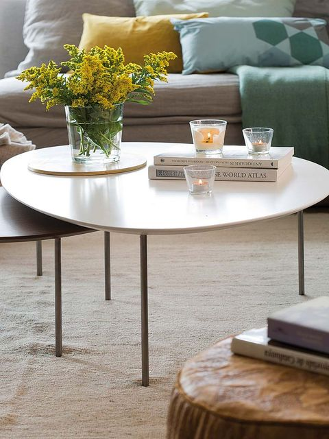 Furniture, Coffee table, Table, Yellow, Interior design, Room, Chair, Home, Centrepiece, Living room,