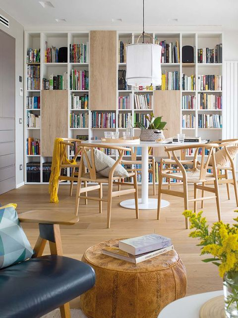Furniture, Room, Living room, Interior design, Building, Yellow, Property, Table, Shelf, Shelving,