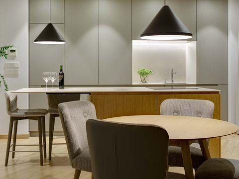 Room, Furniture, Interior design, Table, Property, Dining room, Lighting, Wall, Building, Floor,