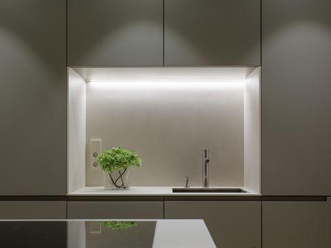 Room, Light, Interior design, Architecture, Lighting, Furniture, Glass, Floor, Line, Countertop,