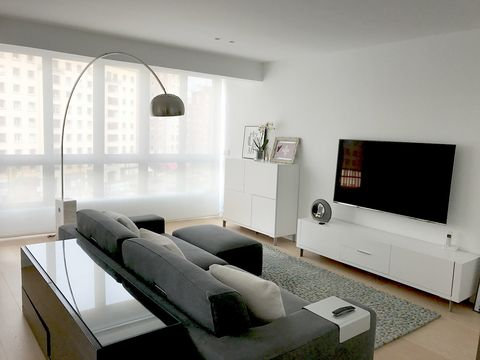 Furniture, Living room, Room, White, Interior design, Property, Couch, Table, Building, Ceiling,