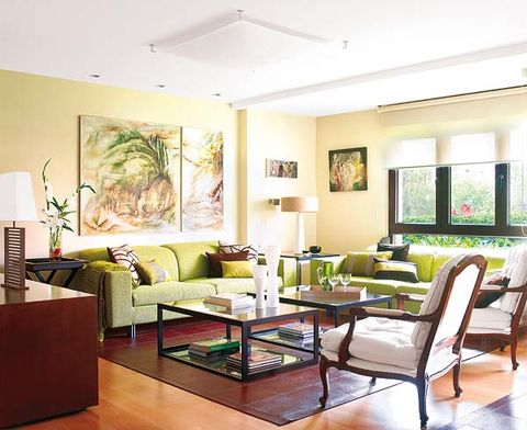 Green, Interior design, Room, Floor, Living room, Furniture, Flooring, Home, Table, Ceiling,