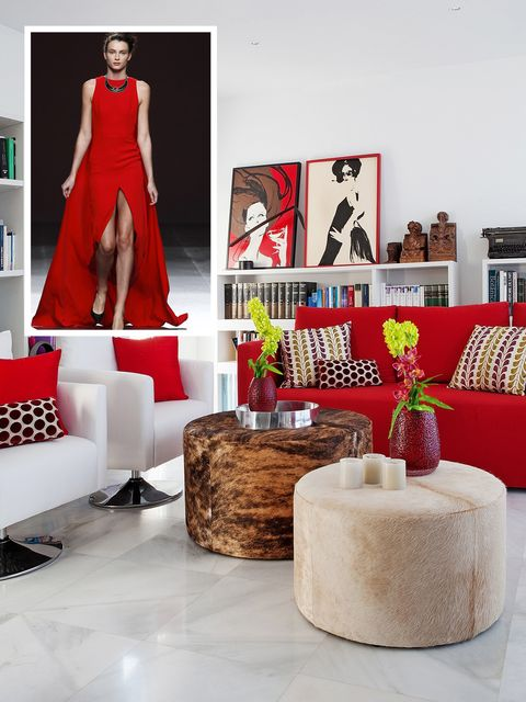 Human, Red, Dress, Interior design, Interior design, One-piece garment, Living room, Design, Picture frame, Gown,