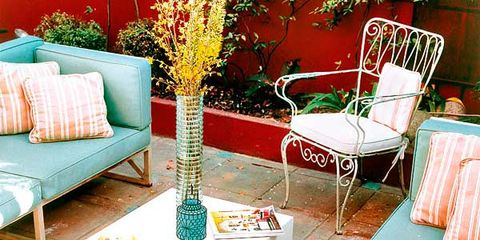 Room, Interior design, Furniture, Table, Interior design, Orange, Couch, Bird, Teal, Home,