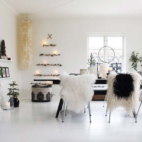 White, Furniture, Room, Black-and-white, Interior design, Floor, Product, Feather, Table, Fur,