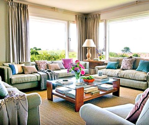 Living room, Room, Furniture, Interior design, Property, Curtain, Coffee table, Home, Table, Couch,