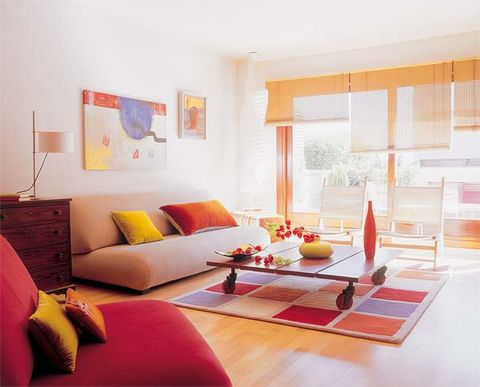 Room, Interior design, Yellow, Wood, Floor, Flooring, Wall, Furniture, Orange, Home,