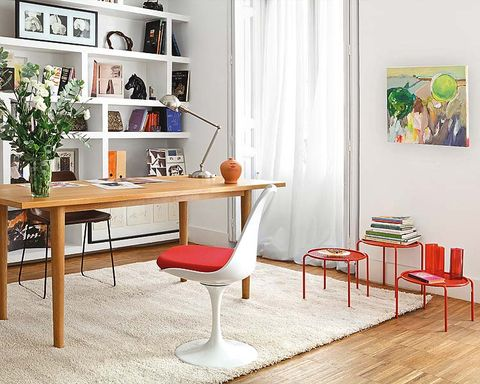 Room, Interior design, Wood, Furniture, Table, Floor, Flooring, Wall, Interior design, Shelving,