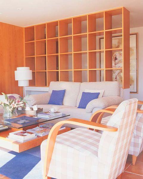 Room, Interior design, Orange, Wall, Furniture, Home, Interior design, Linens, Pillow, Floor,