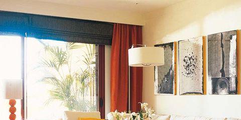 Interior design, Room, Floor, Flooring, Living room, Furniture, Table, Couch, Orange, Home,