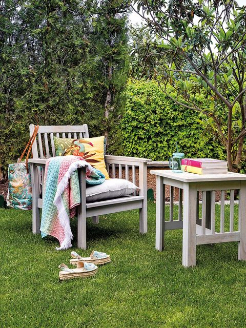 Furniture, Table, Grass, Tree, Yard, Backyard, Outdoor furniture, Chair, Garden, House,