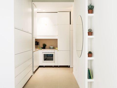 White, Room, Property, Floor, Furniture, Interior design, Tile, Building, House, Material property,