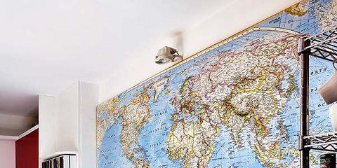 Wall, Floor, Interior design, Flooring, Paint, Art, World, Interior design, Majorelle blue, Light fixture,