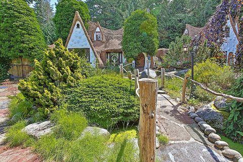 Plant, Shrub, Garden, House, Residential area, Groundcover, Evergreen, Village, Roof, Cottage,