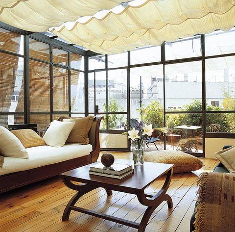 Wood, Interior design, Room, Furniture, Floor, Table, Glass, Living room, Hardwood, Couch,
