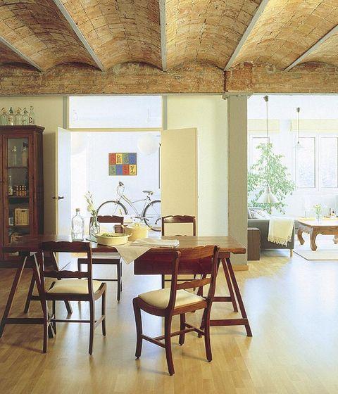 Wood, Floor, Interior design, Room, Flooring, Furniture, Table, Hardwood, Ceiling, Wood flooring,