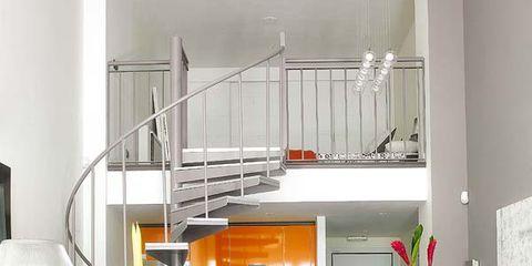 Room, Interior design, Orange, Floor, Furniture, Home, Living room, Table, Interior design, Wall,