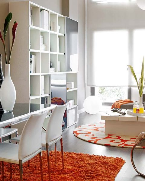Room, Interior design, Floor, Shelf, Shelving, Flooring, Wall, Interior design, Home, Orange,