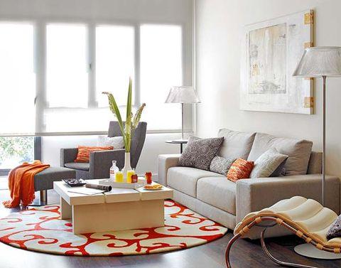 Room, Interior design, Living room, White, Couch, Furniture, Home, Table, Interior design, Orange,