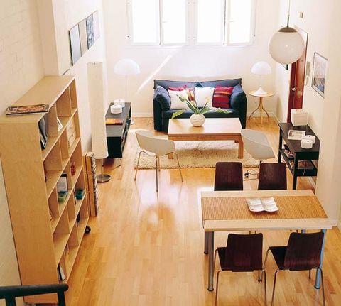 Wood, Room, Interior design, Floor, Flooring, Table, Furniture, Interior design, Couch, Home,