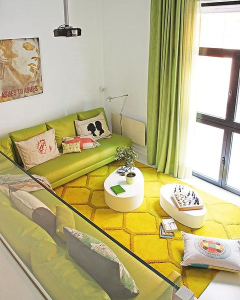 Green, Yellow, Room, Furniture, Interior design, Living room, Couch, Bed, Table, Bedding,