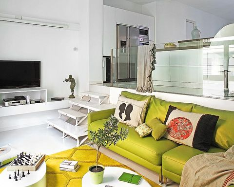 Living room, Room, Green, Interior design, Furniture, White, Yellow, Property, Couch, Building,