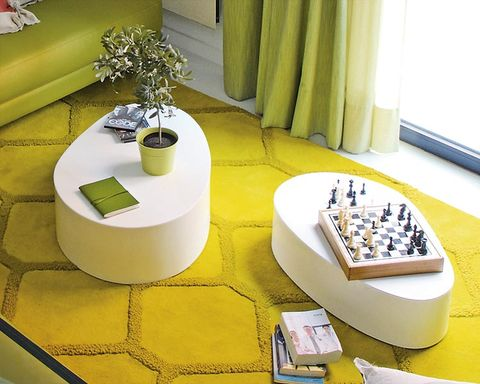 Table, Yellow, Interior design, Furniture, Room, Architecture, Coffee table,