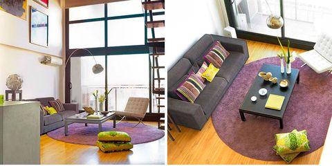 Room, Yellow, Interior design, Green, Purple, Floor, Interior design, Furniture, Flooring, Wall,