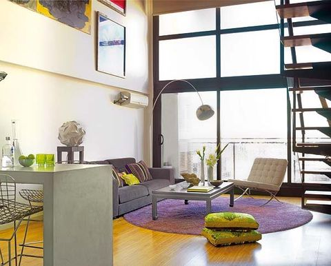 Room, Yellow, Interior design, Floor, Table, Furniture, Wall, Couch, Ceiling, Interior design,