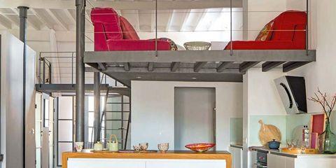 Room, Interior design, Furniture, Floor, Table, Orange, Interior design, Home, Chair, Aircraft,