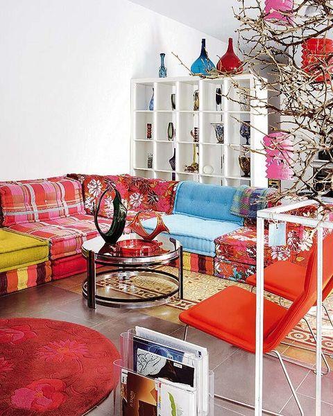 Room, Interior design, Red, Pink, Wall, Home, Magenta, Living room, Interior design, House,