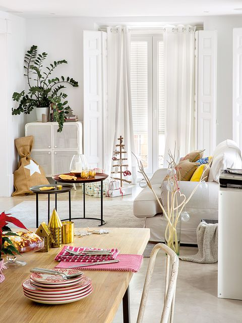 Room, Furniture, Living room, Interior design, Home, Pink, Table, Yellow, Curtain, Coffee table,