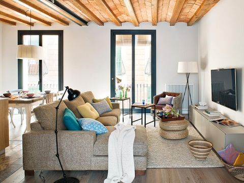 Room, Interior design, Wood, Floor, Living room, Home, Furniture, Table, Couch, Flooring,