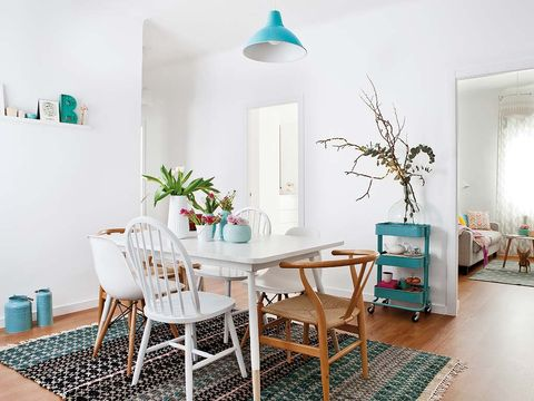 Room, Interior design, Floor, Flooring, Furniture, Table, Turquoise, Teal, Wall, Home,