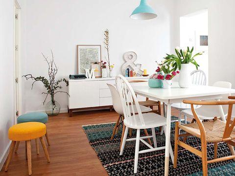 Room, Interior design, Floor, Furniture, Flooring, Table, Home, Interior design, Dining room, Grey,