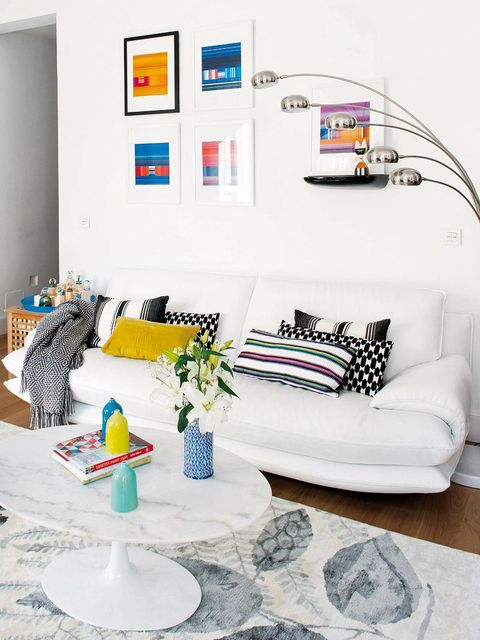 Living room, White, Furniture, Room, Interior design, Couch, Blue, Yellow, Coffee table, studio couch,