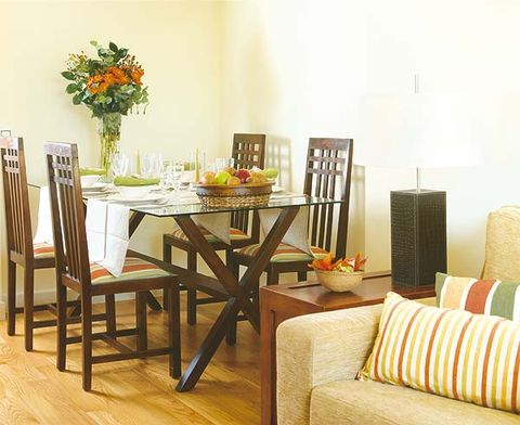 Room, Wood, Interior design, Furniture, Table, Floor, Dining room, Hardwood, Flooring, Orange,