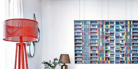 Living room, Furniture, Room, Interior design, Lamp, Lampshade, Turquoise, Lighting, Wall, Design,