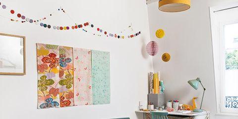 Room, Interior design, Yellow, Furniture, Orange, Wall, Interior design, Ceiling, Table, Flowerpot,
