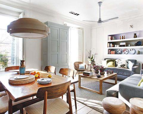 Room, Interior design, Wood, Lighting, Floor, Furniture, Table, Wall, Ceiling, Light fixture,