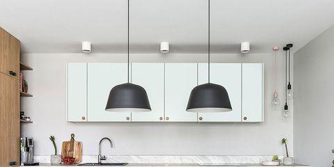 Room, Furniture, Countertop, Kitchen, Interior design, Floor, Property, Cabinetry, Dining room, Building,