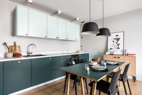 Countertop, Room, Kitchen, Furniture, Property, Cabinetry, Interior design, Turquoise, Building, House,