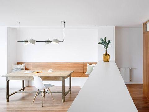 Wood, Floor, Room, Interior design, Flooring, Table, Wall, Furniture, Flowerpot, Interior design,