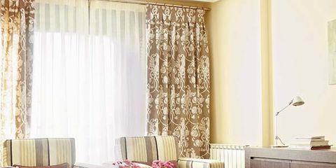 Interior design, Floor, Room, Flooring, Table, Furniture, Interior design, Window treatment, Curtain, Window covering,