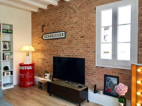 Room, Brick, Living room, Wall, Interior design, Property, Furniture, Building, Hearth, Floor,