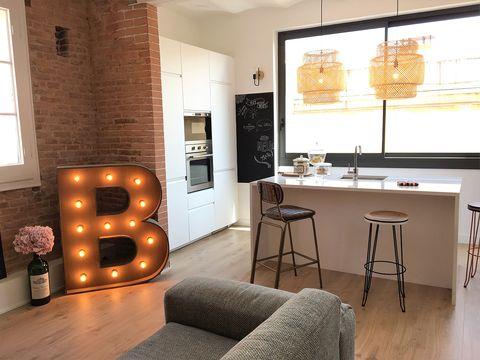 Room, Interior design, Property, Furniture, Living room, Lighting, Building, Wall, Brick, Floor,