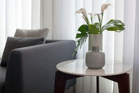White, Room, Furniture, Interior design, Vase, Property, Table, Plant, Houseplant, Living room,