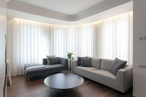 Living room, Room, Interior design, Furniture, Property, Curtain, Floor, Wall, Ceiling, Building,