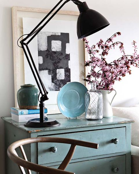 Furniture, Table, Room, Shelf, Interior design, Turquoise, Desk, Still life photography, Home, Hutch,